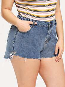 Plus Raw Hem Lace Up Denim Shorts