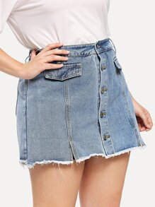 Plus Raw Hem Button Front Skort
