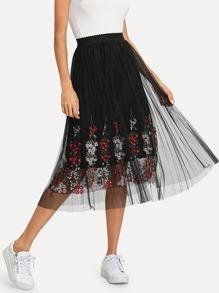 Flower Embroidered Mesh Skirt