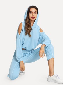 Open Shoulder Hooded Top With Pants