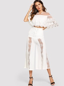 Contrast Lace Crop Top With Wide Leg Pants