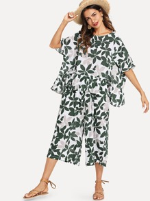 Leaf Print Blouse With Wide Leg Pants
