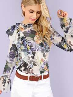 Floral Print Sheer Ruffle Blouse