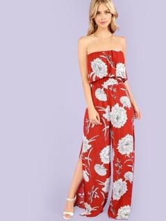 Flower Print Strapless Jumpsuit