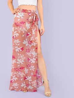 Floral Print Sheer Skirt with Slit