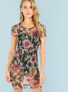 Floral and Camo Print Mesh Dress with Bodysuit Underneath