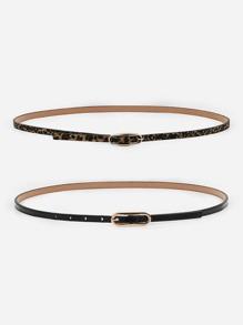 Leopard Skinny Belt 2pcs