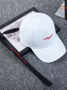 Embroidered Long Strap Baseball Cap