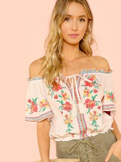 Off Shoulder Piece Print Blouse