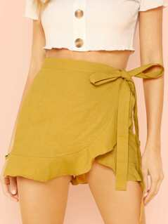 Ruffle Trim Side Tie Skort