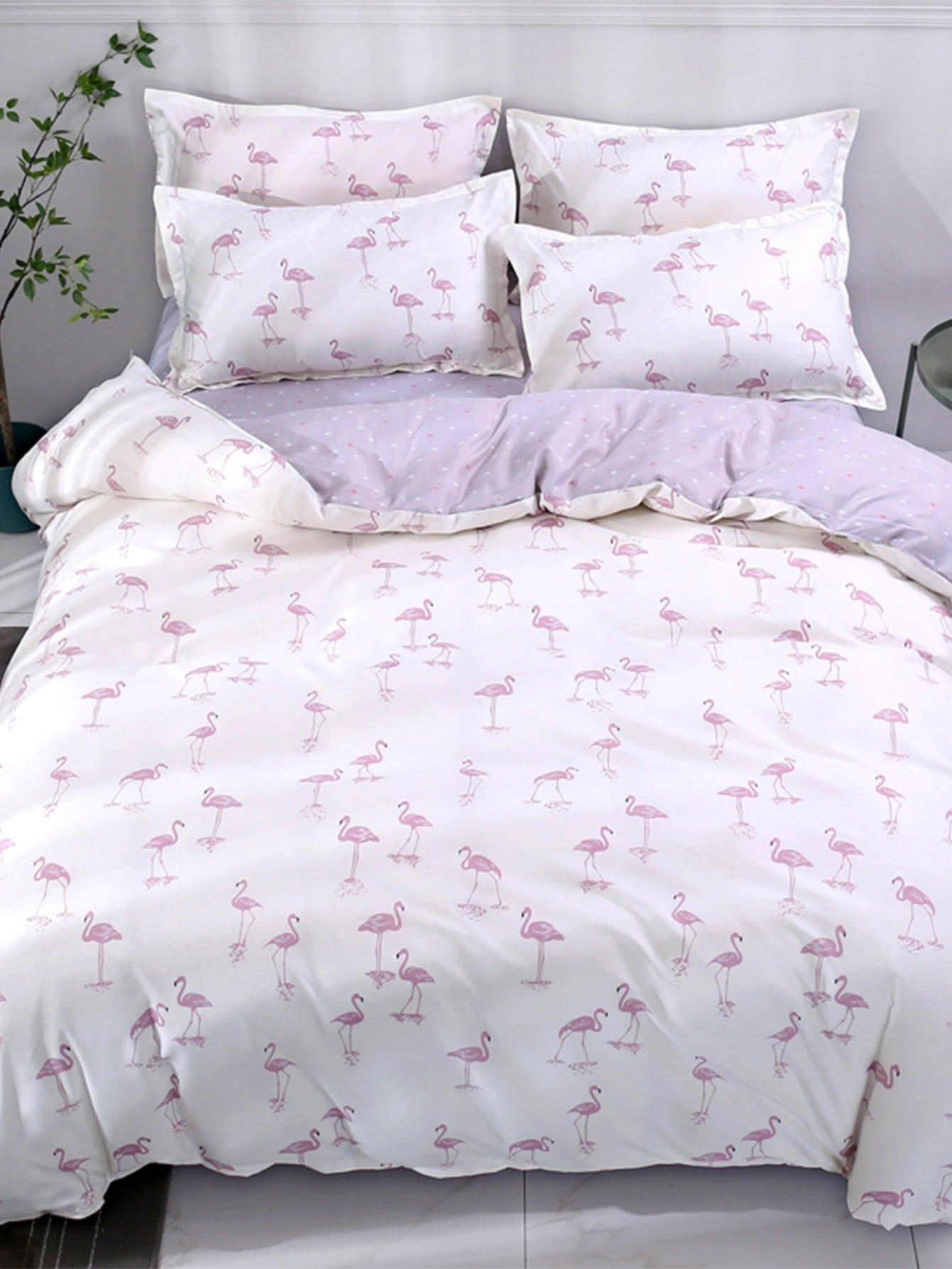Allover Flamingos Print Sheet Set