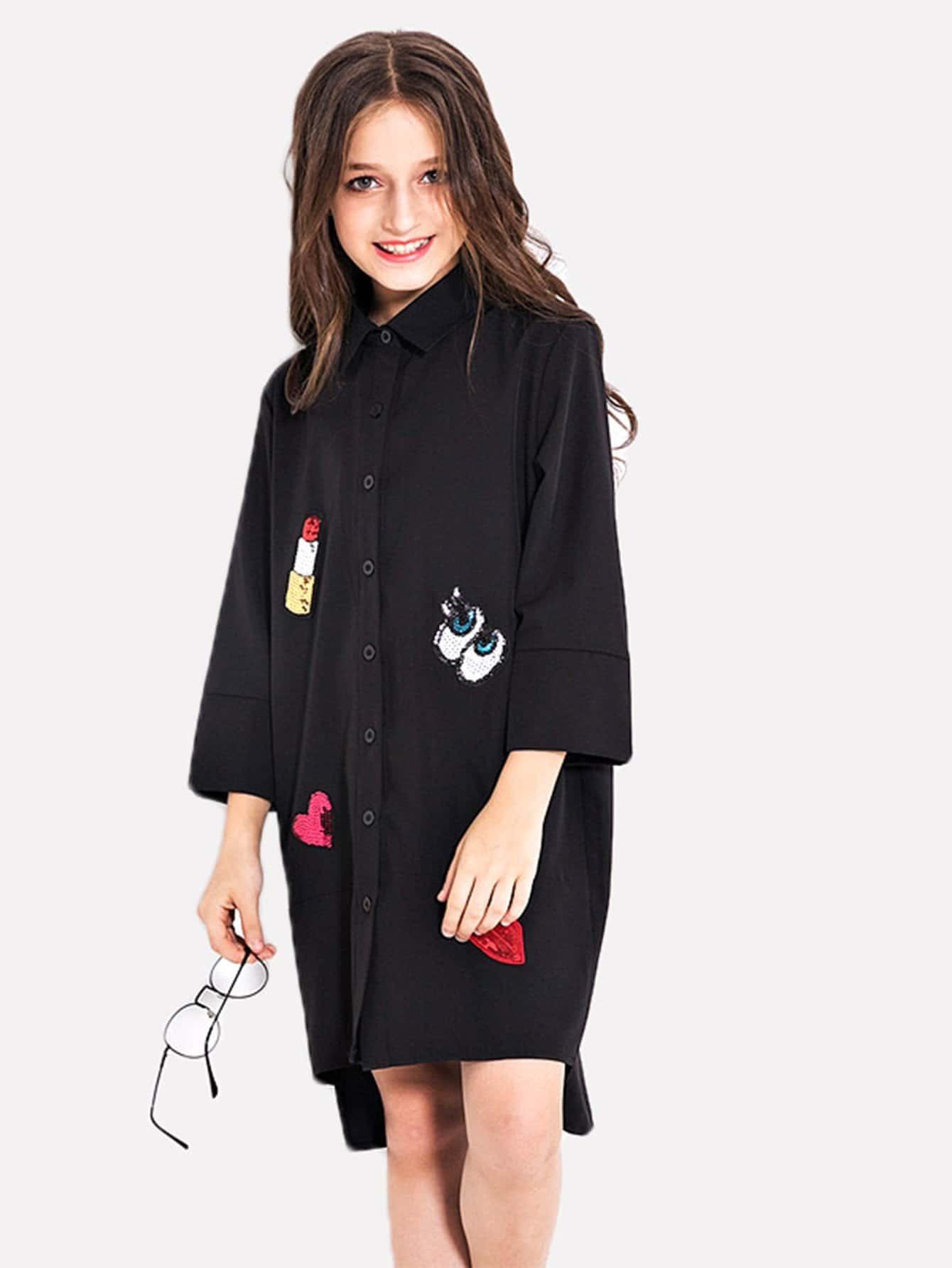 Купить Платье с симметрических мультяшных узоров для девочки, null, SheIn