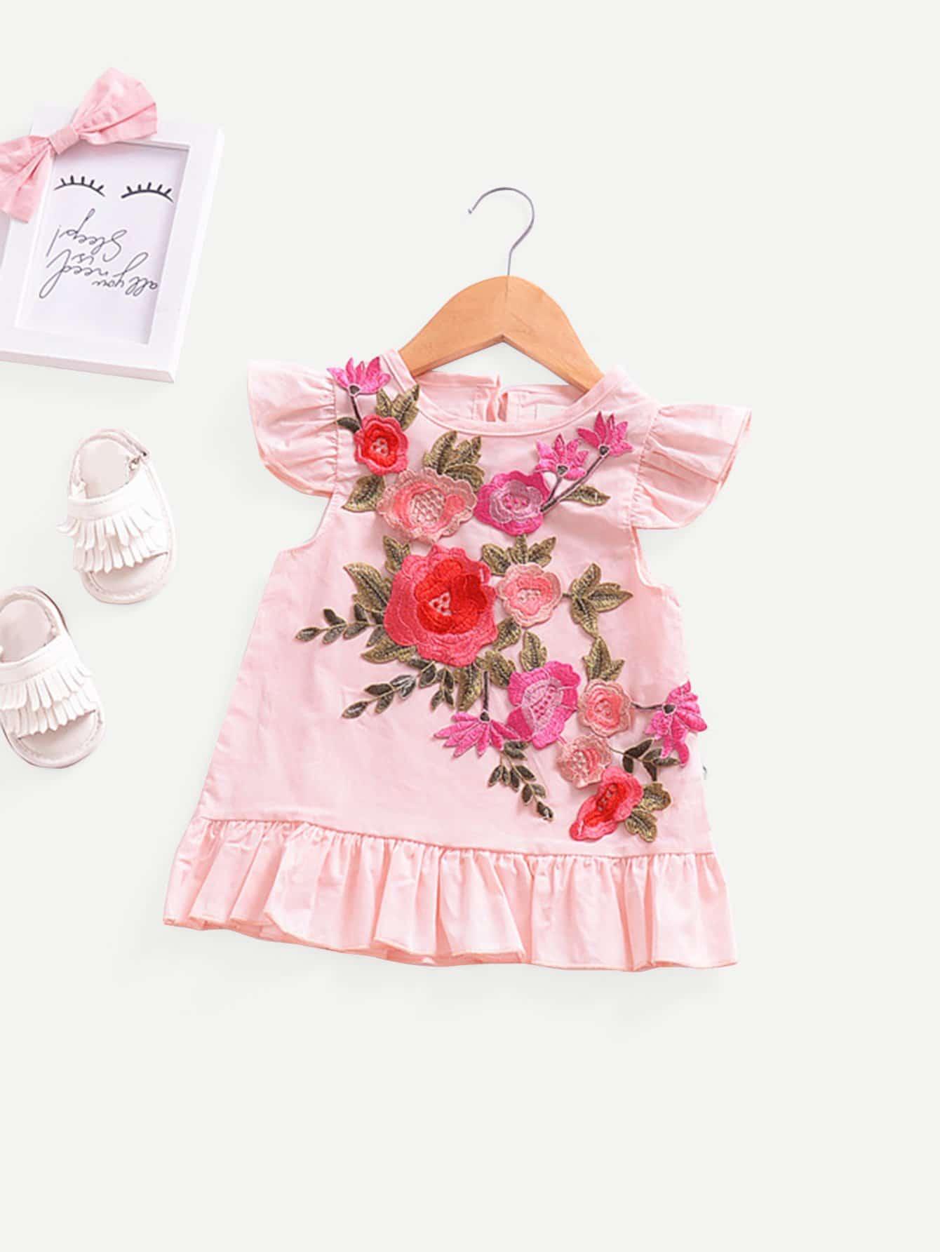 Купить Платье с украшением цветов вышивки для девочки, null, SheIn