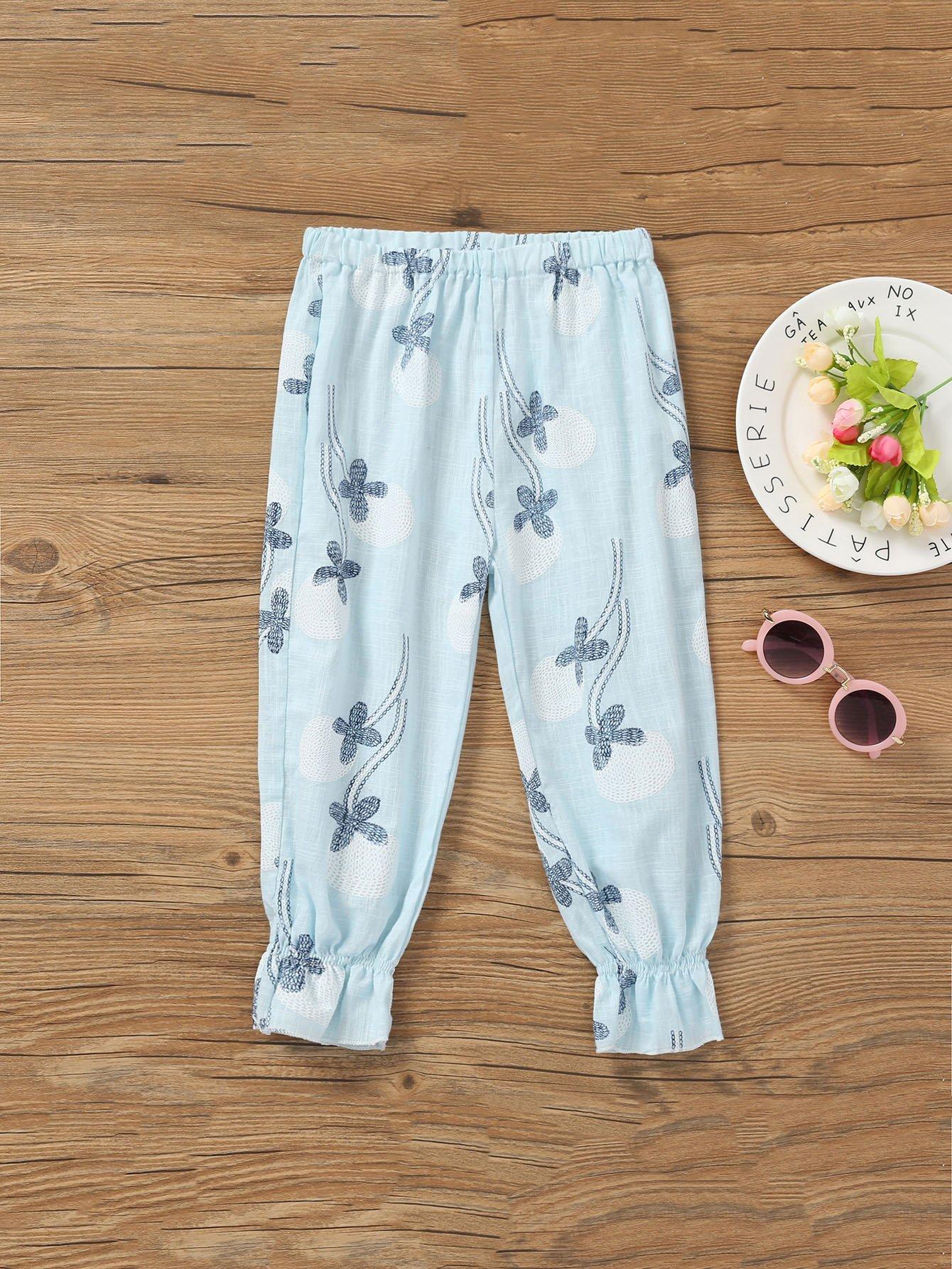 Фото Girls Ruffle Hem Floral Print Pants