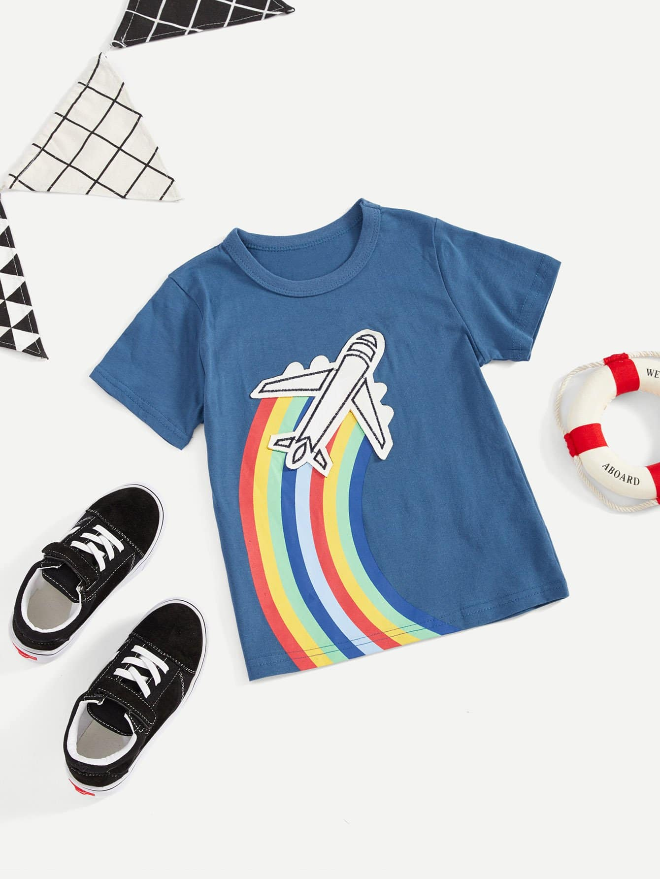 все цены на Boys Rainbow Print Aircraft Embroidery T-shirt