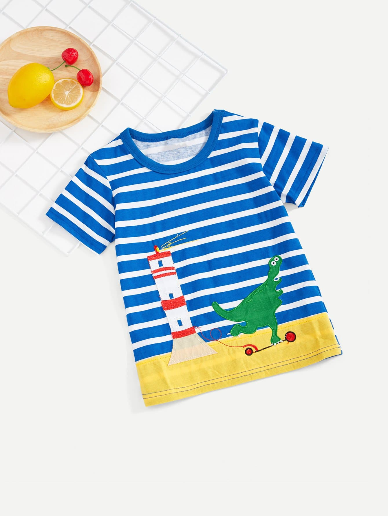 Boys Dinosaur Embroidery Striped T-shirt