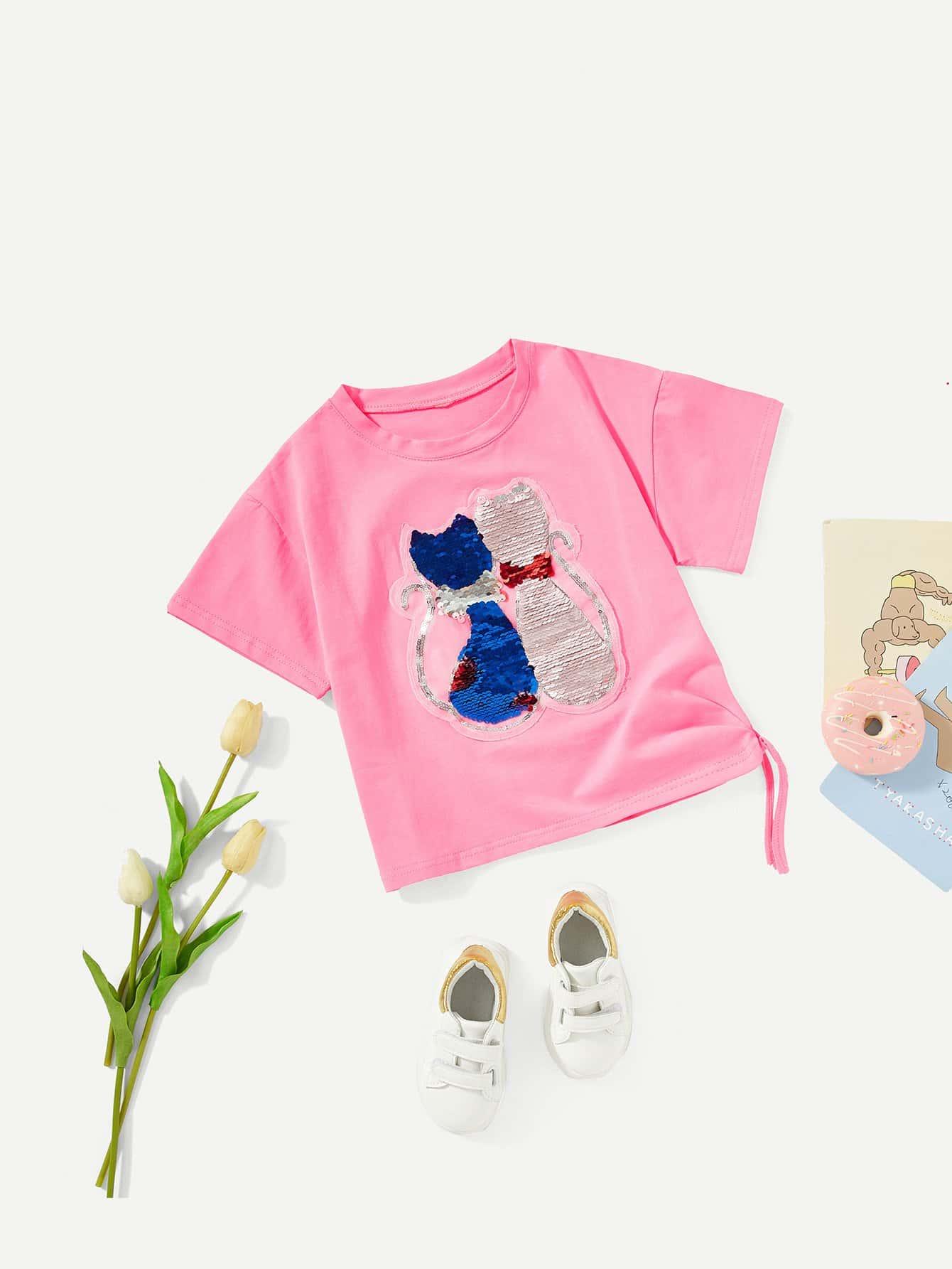 Купить Симметрическая футболка с рисунками кота для девочки, null, SheIn
