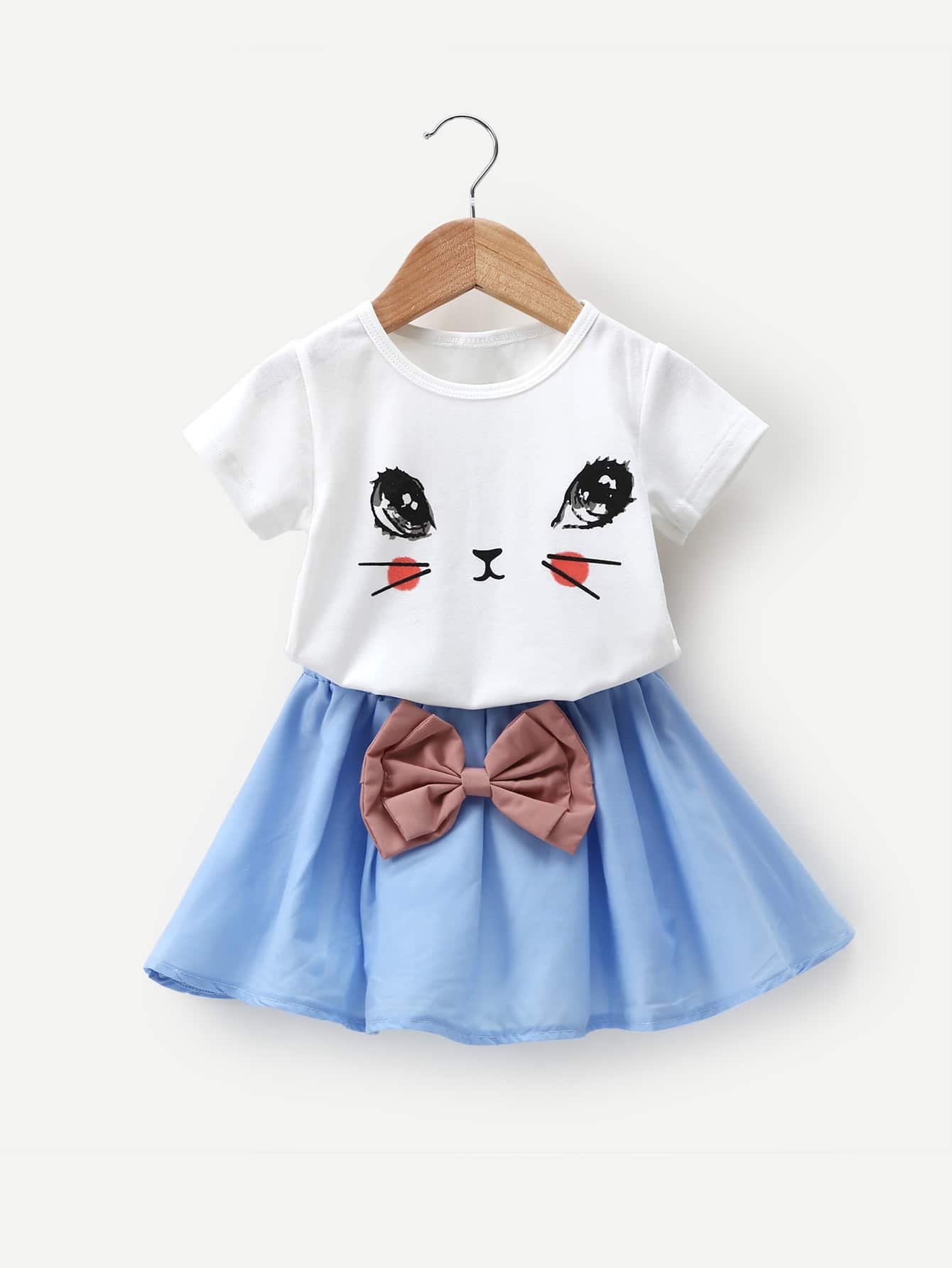 Girls Cartoon Print Tee With Bow Detail Skirt