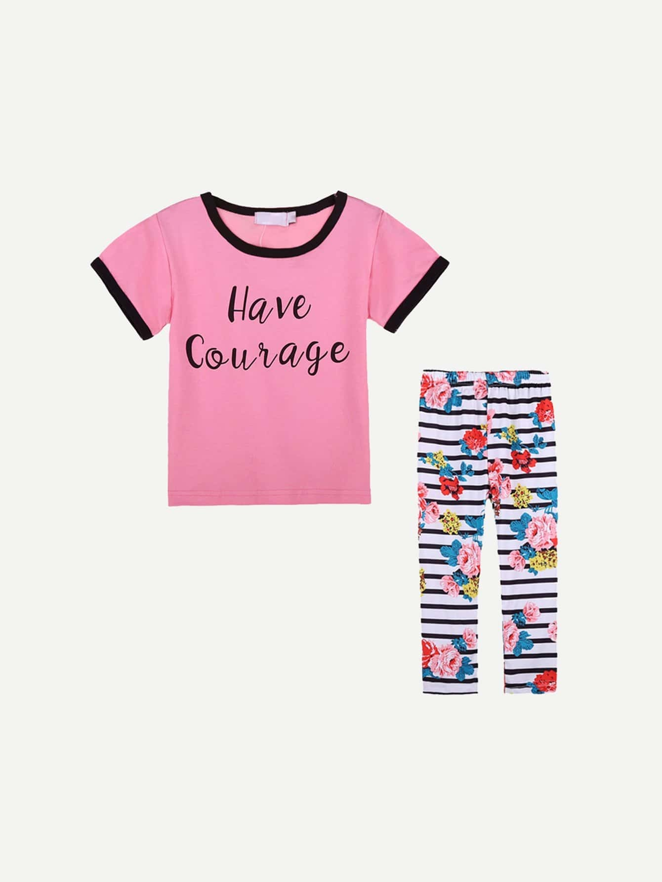 Girls Letter Print Tee With Floral Print Striped Pants kids letter print sleeveless tee with tropical print pants