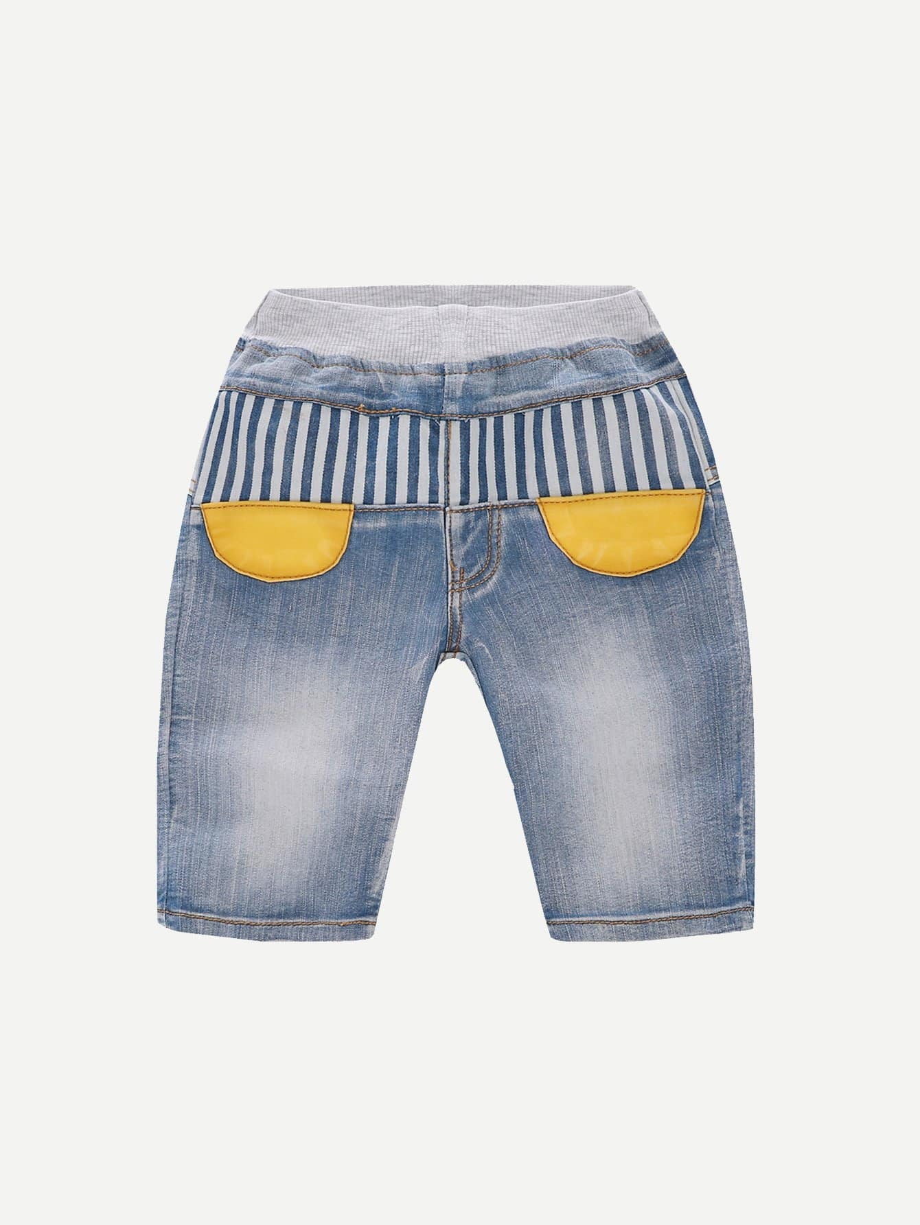 Boys Pocket Detail Striped Denim Shorts