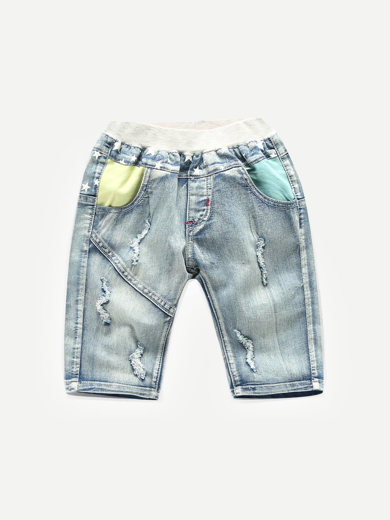 Купить Рваные джинсовые шорты с украшением вышивки и кармана для мальчика, null, SheIn