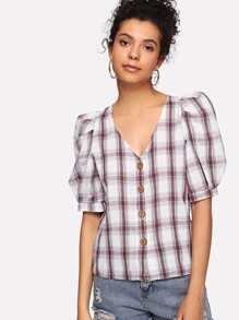 Button Front Puff Sleeve Checked Blouse