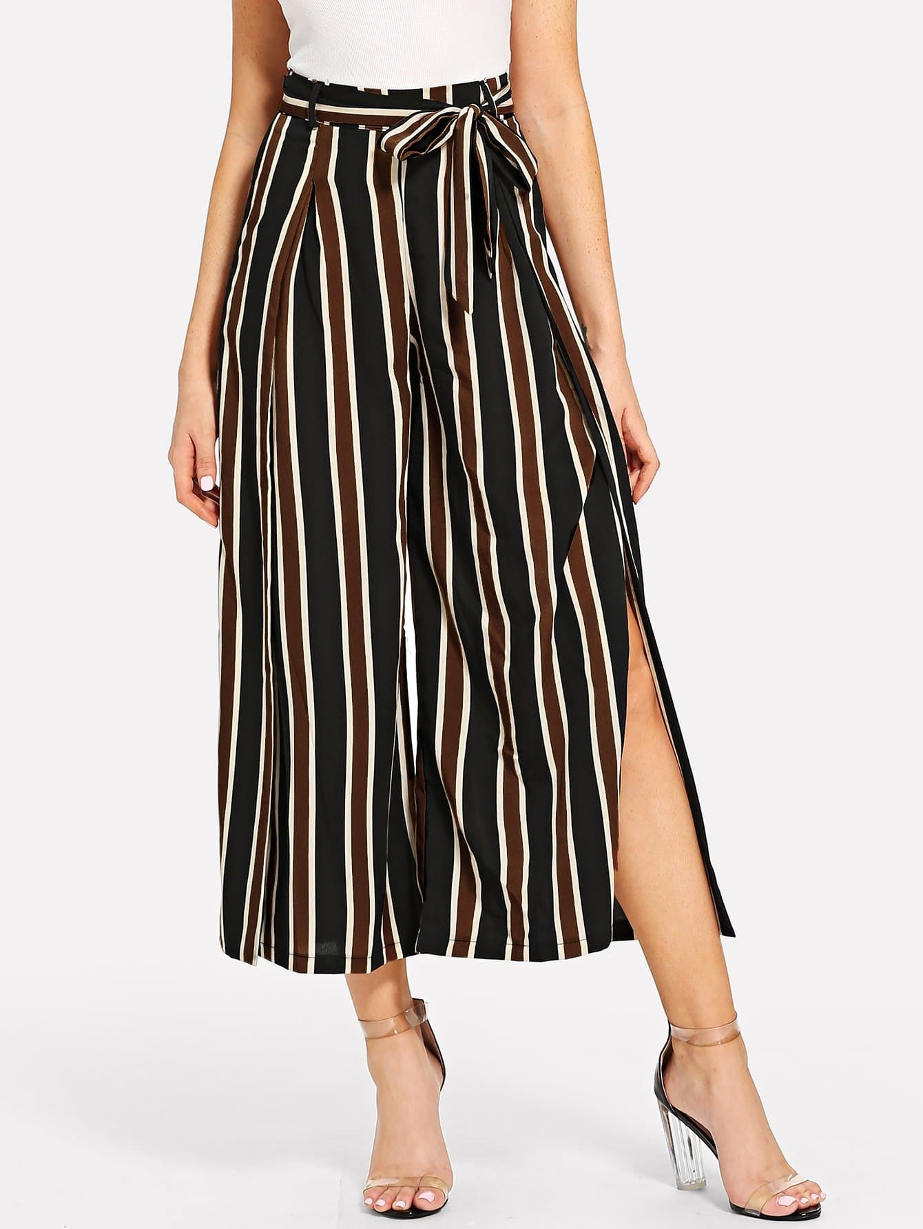 Self Tie Waist Striped Slit Hem Pants