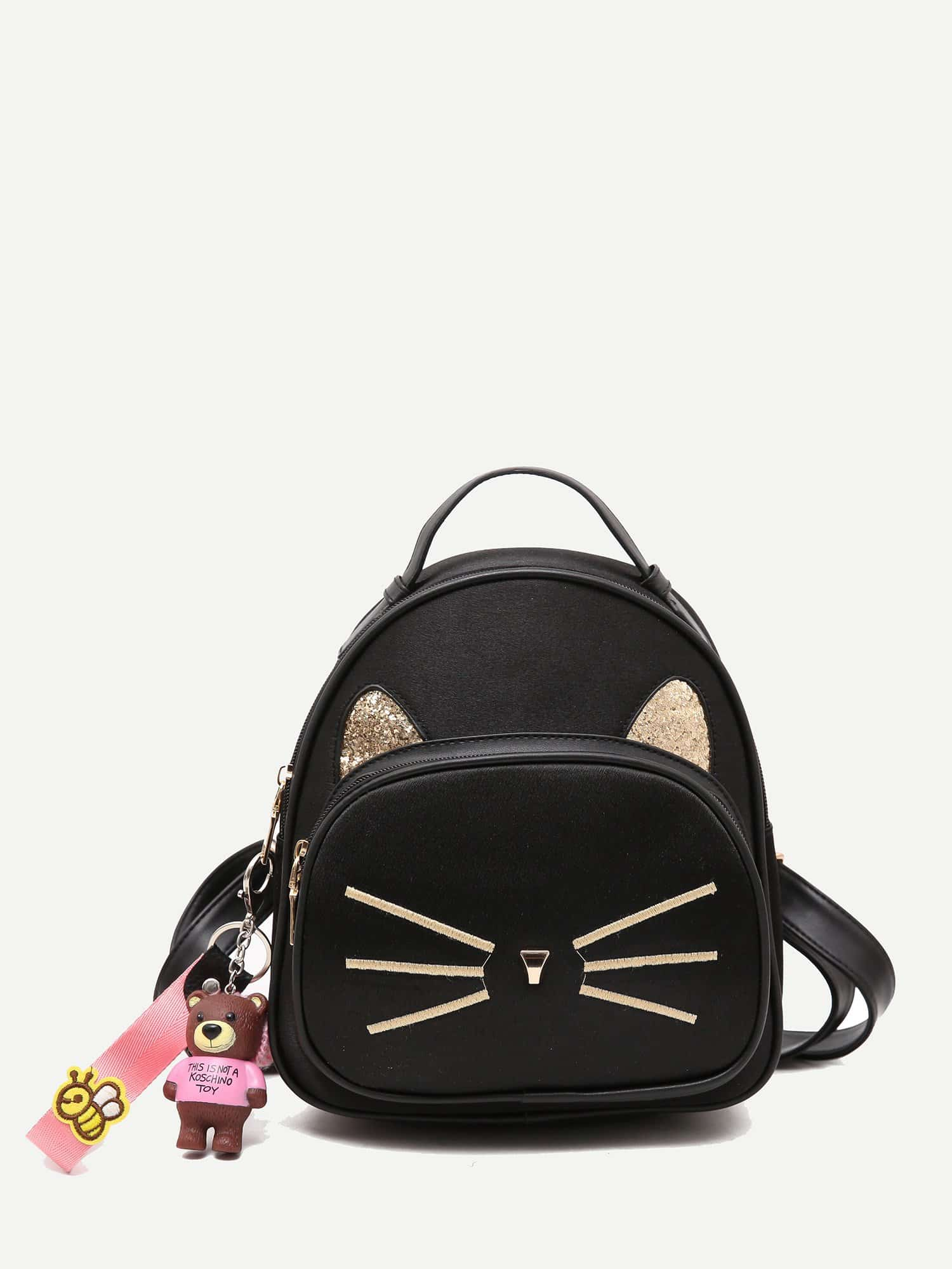 Cartoon Embroidered Backpack With Charm cartoon charm hair clip 6pcs