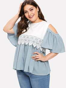 Plus Contrast Lace Striped Cold Shoulder Ruffle Hem Blouse