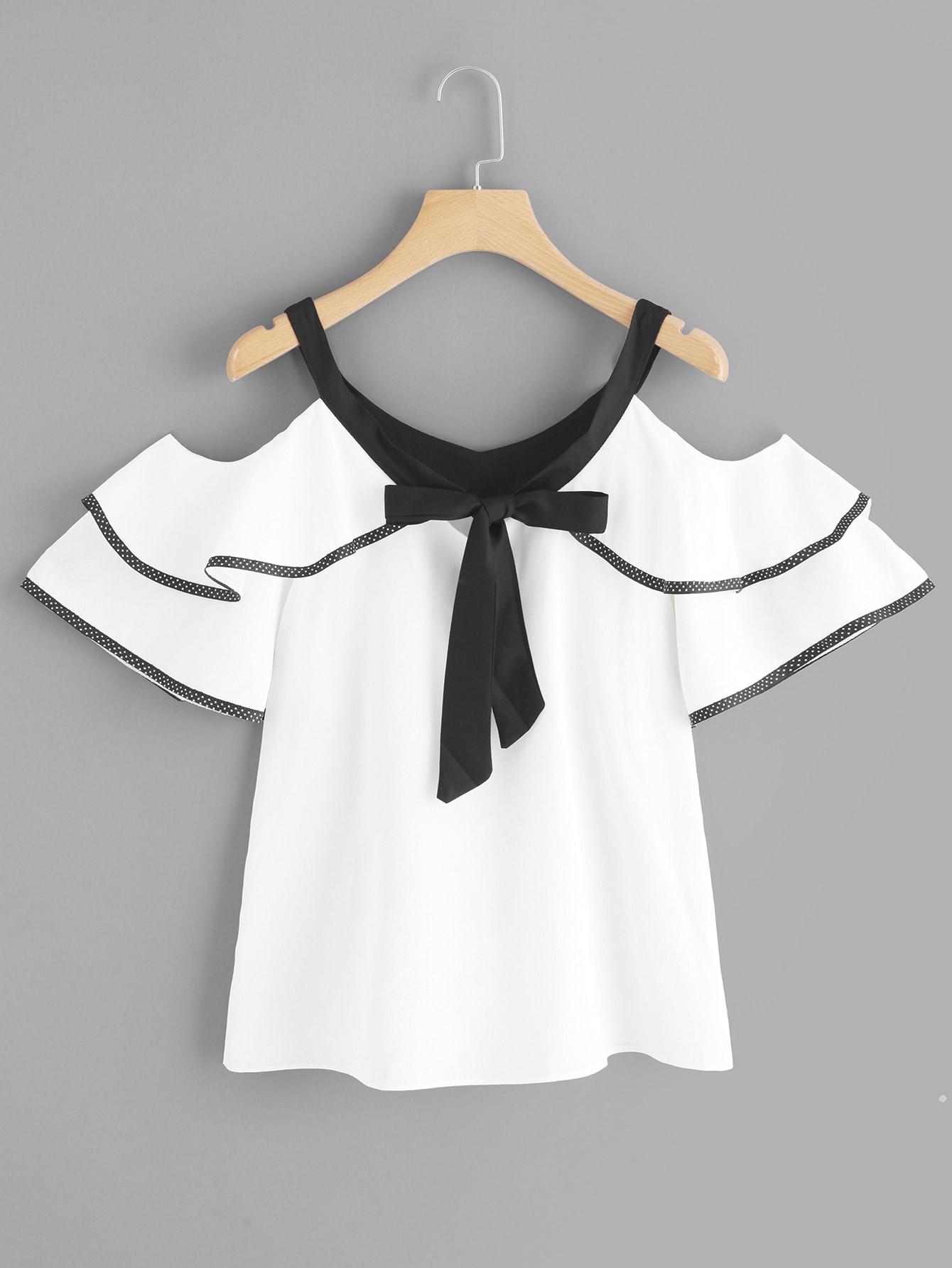 Купить Повседневный Одноцветный Кайма Белый Блузы+рубашки, null, SheIn