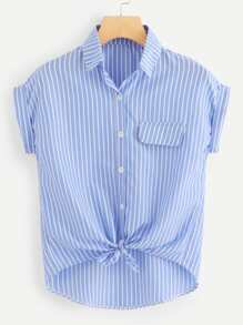 Rolled Cuff Knotted Hem Striped Blouse