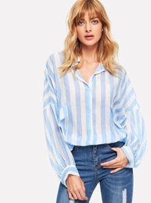 Drop Shoulder Dip Hem Striped Shirt