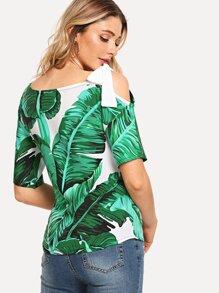 Tropic Print Cut Out Shoulder Blouse
