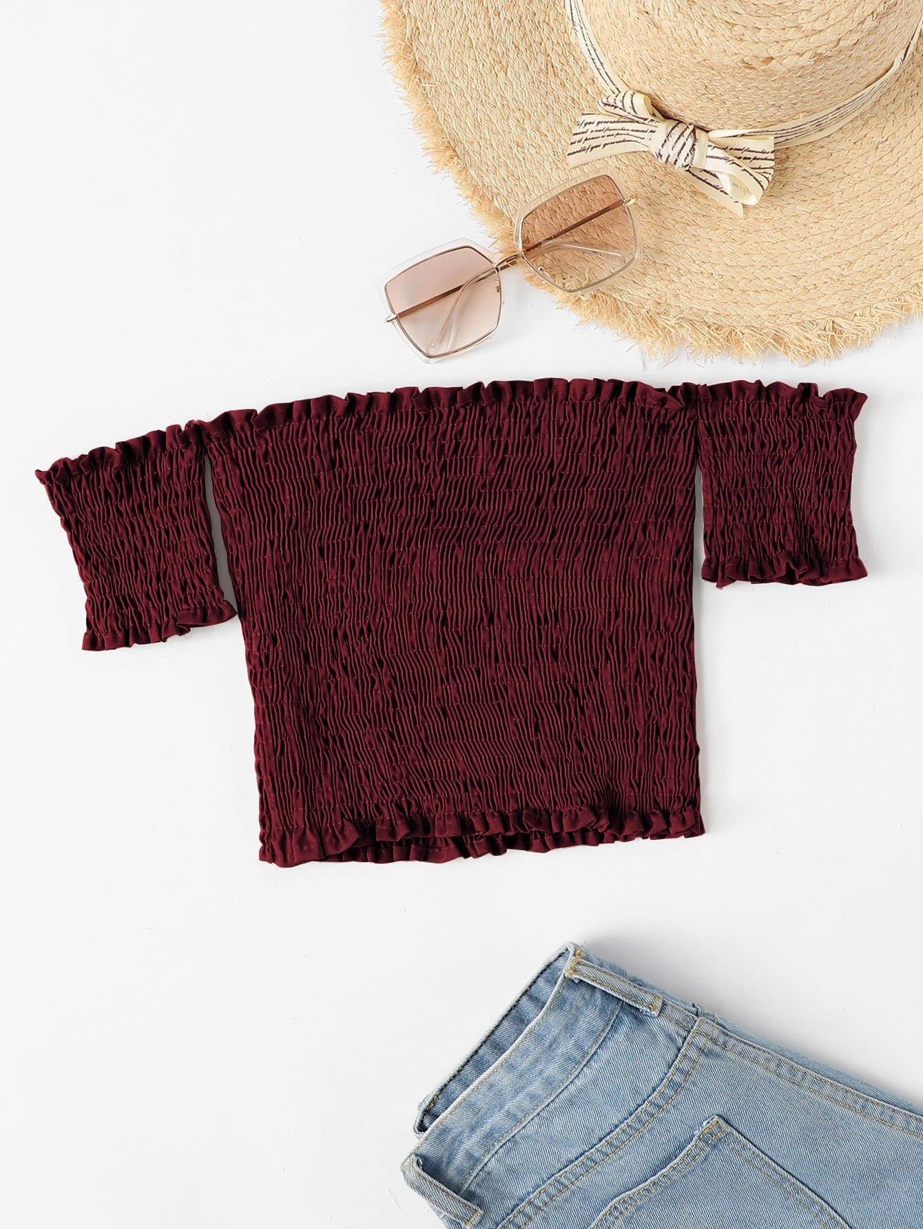 Сексуальная блуза Одноцветный с рюшами Бордовый Блузы+рубашки, null, SheIn  - купить со скидкой