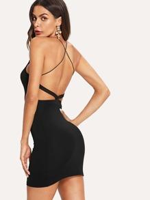 Criss Cross Backless Spaghetti Strap Bodycon Dress