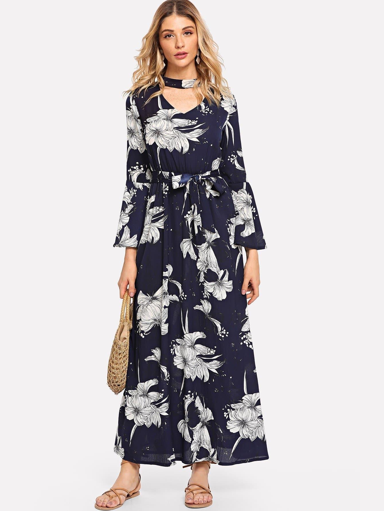Cut Out Neck Floral Print Self Tie Dress cut out neck graphic print dress