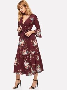 Plunge Neck Floral Print Bell Sleeve Slit Dress