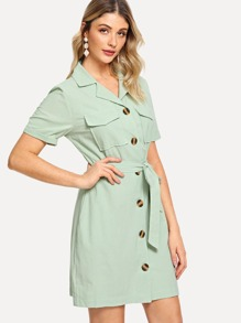Dual Pocket Front Tie Waist Button Through Dress