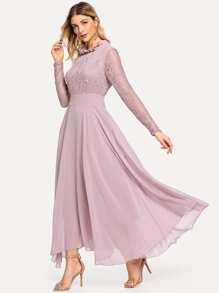 Lace Contrast Mesh Frill High Waist Dress