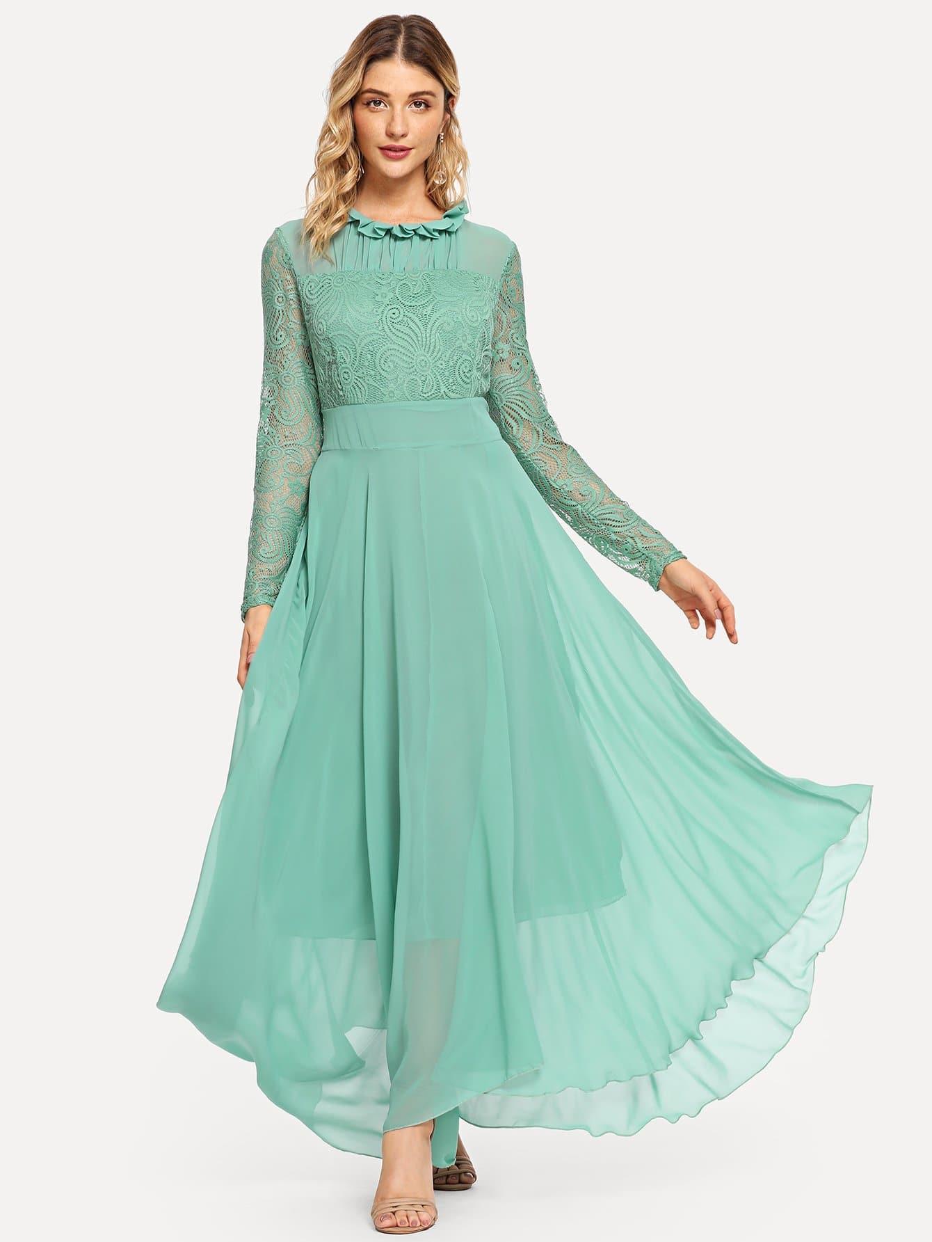 Купить Диско стиль Одноцветный Контрастная сетка Зелёные Платья, Nathane, SheIn