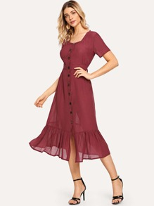 Ruffle Hem Single Breasted Dress