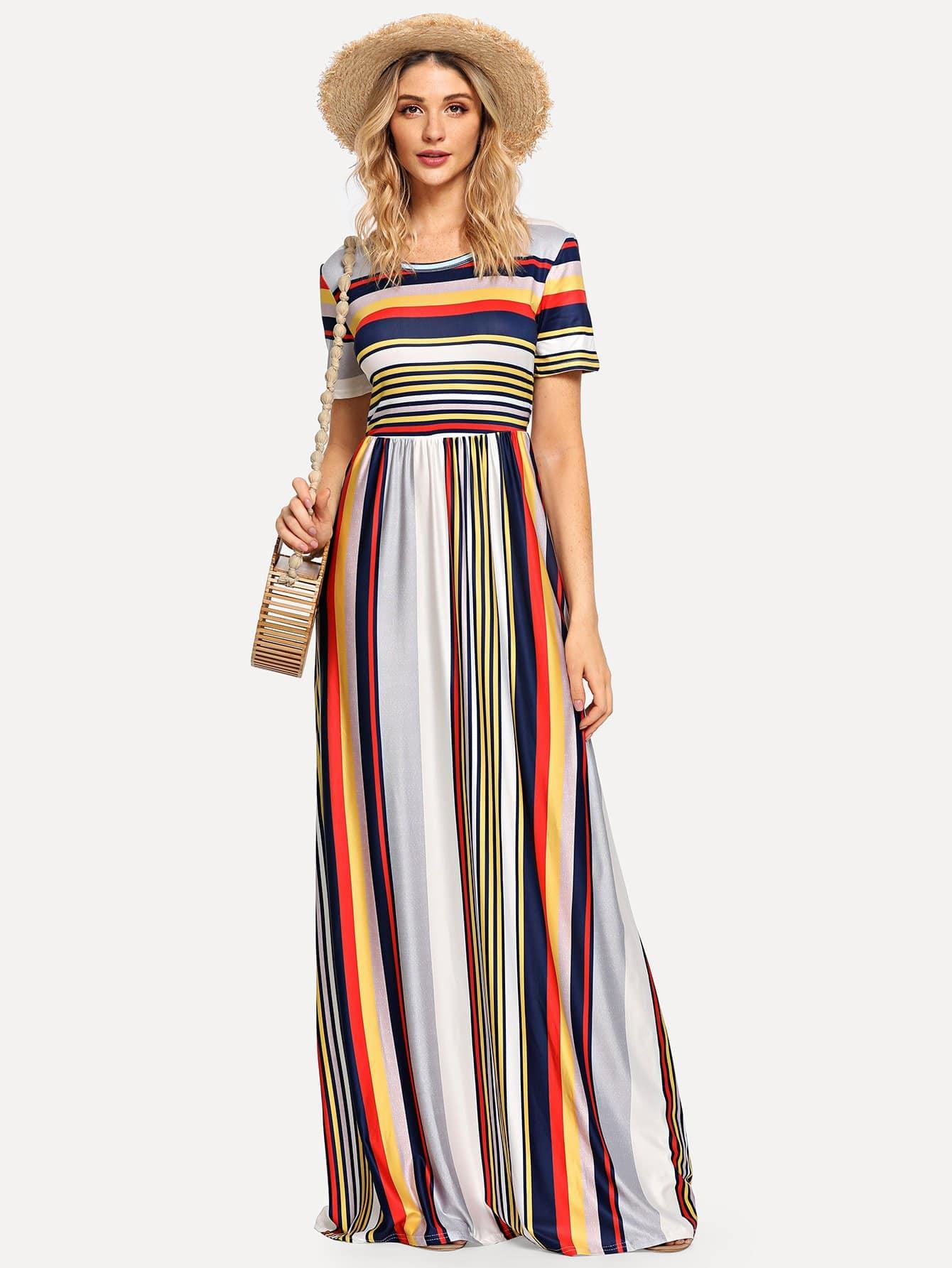 Scoop Neck Striped Dress scoop neck striped stretchy dress