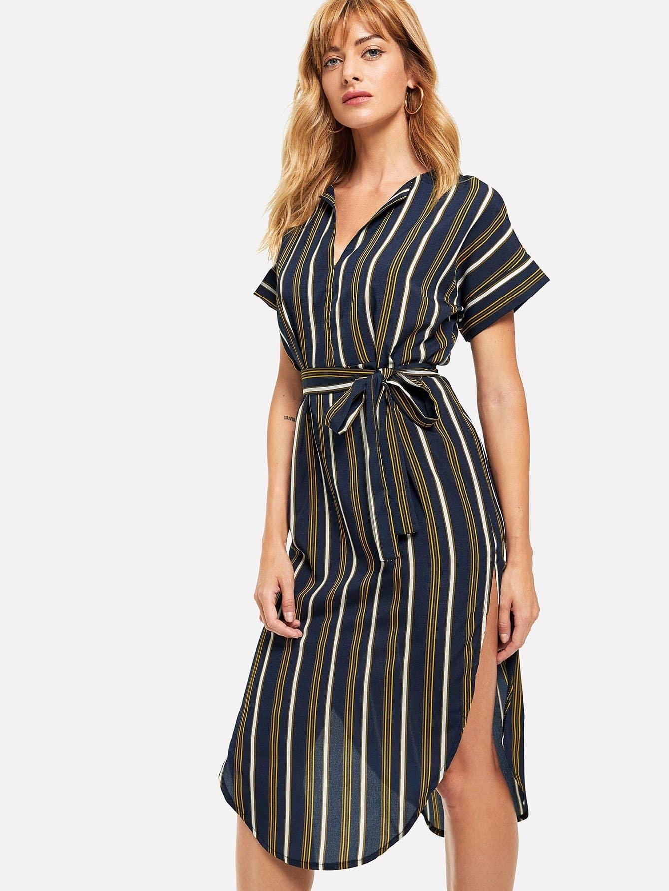 Self Tie Waist Striped Split Dress one shoulder waist knot split striped dress