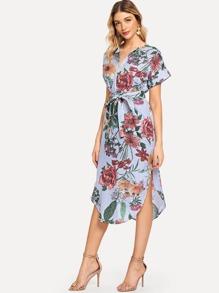 Block-Stripe Curved Hem Shirt Dress