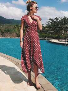 Polka Dot Dip Hem Dress