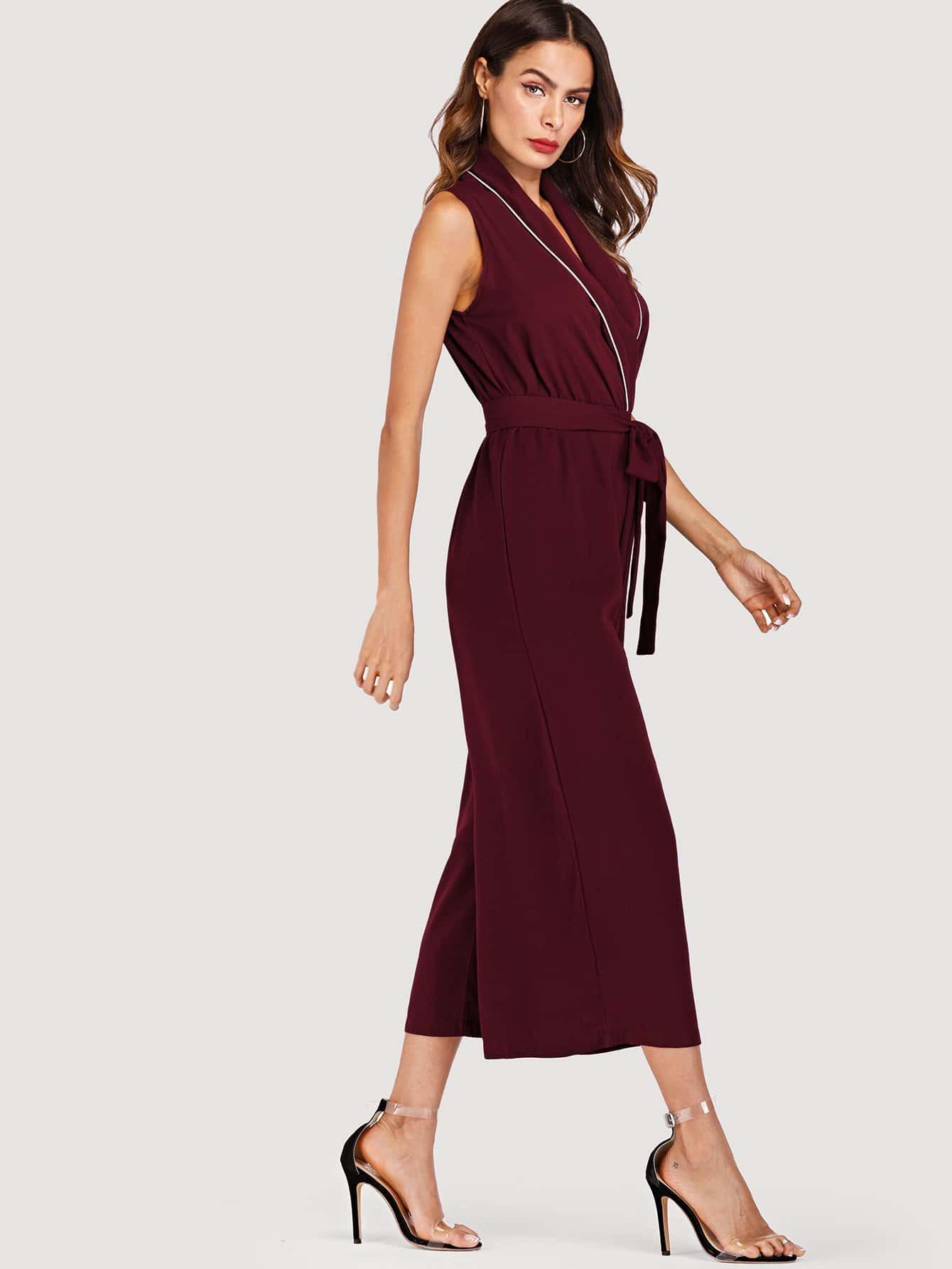 Seam Detail Self Tie Waist Jumpsuit платье seam seam mp002xw18ui0