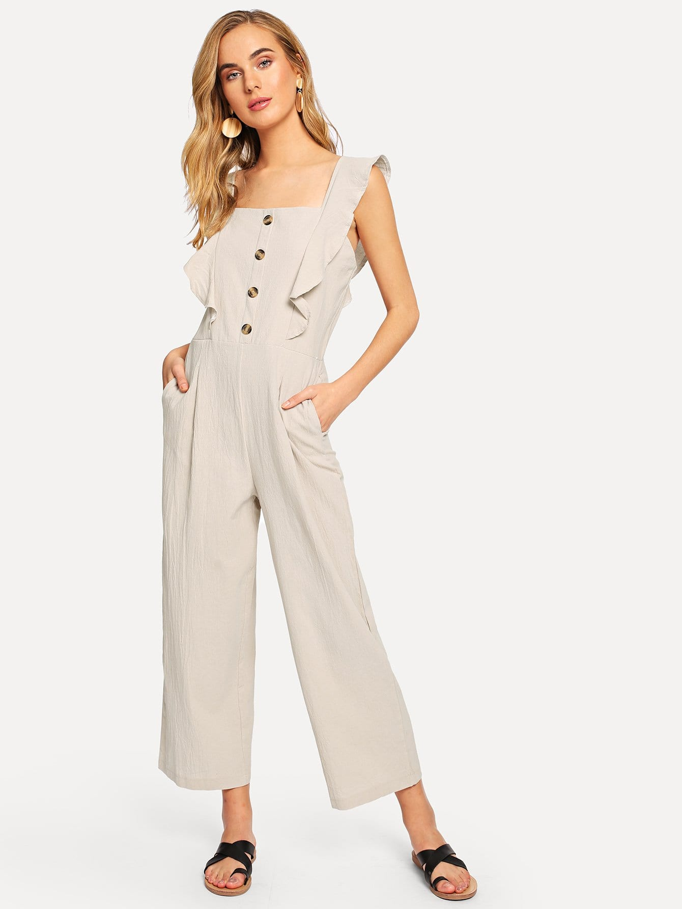 Single Breasted Ruffle Trim Jumpsuit choker neck embroidered ruffle trim jumpsuit