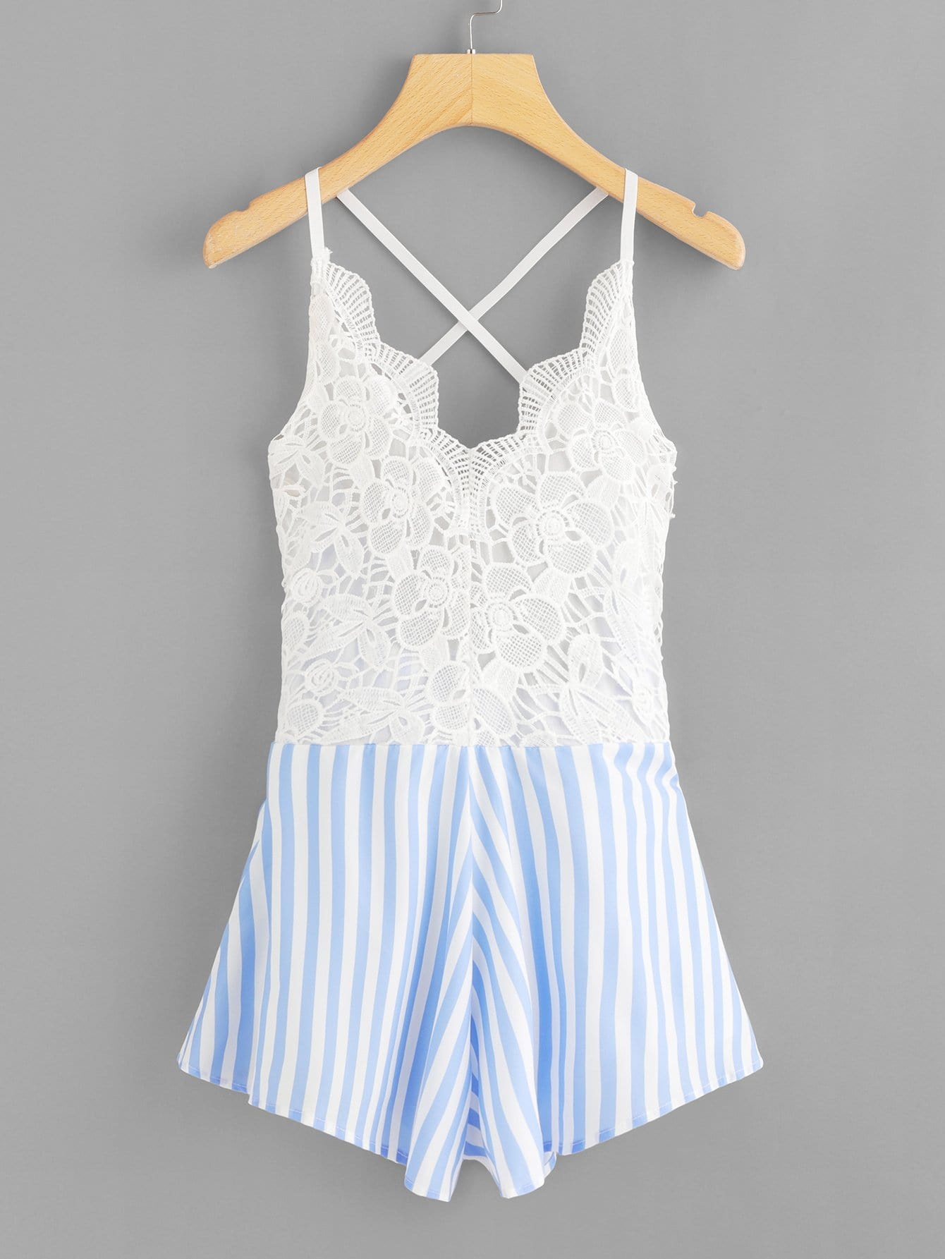 Crochet Lace Panel Bow Tie Back Striped Romper plunged gingham bow tie back romper
