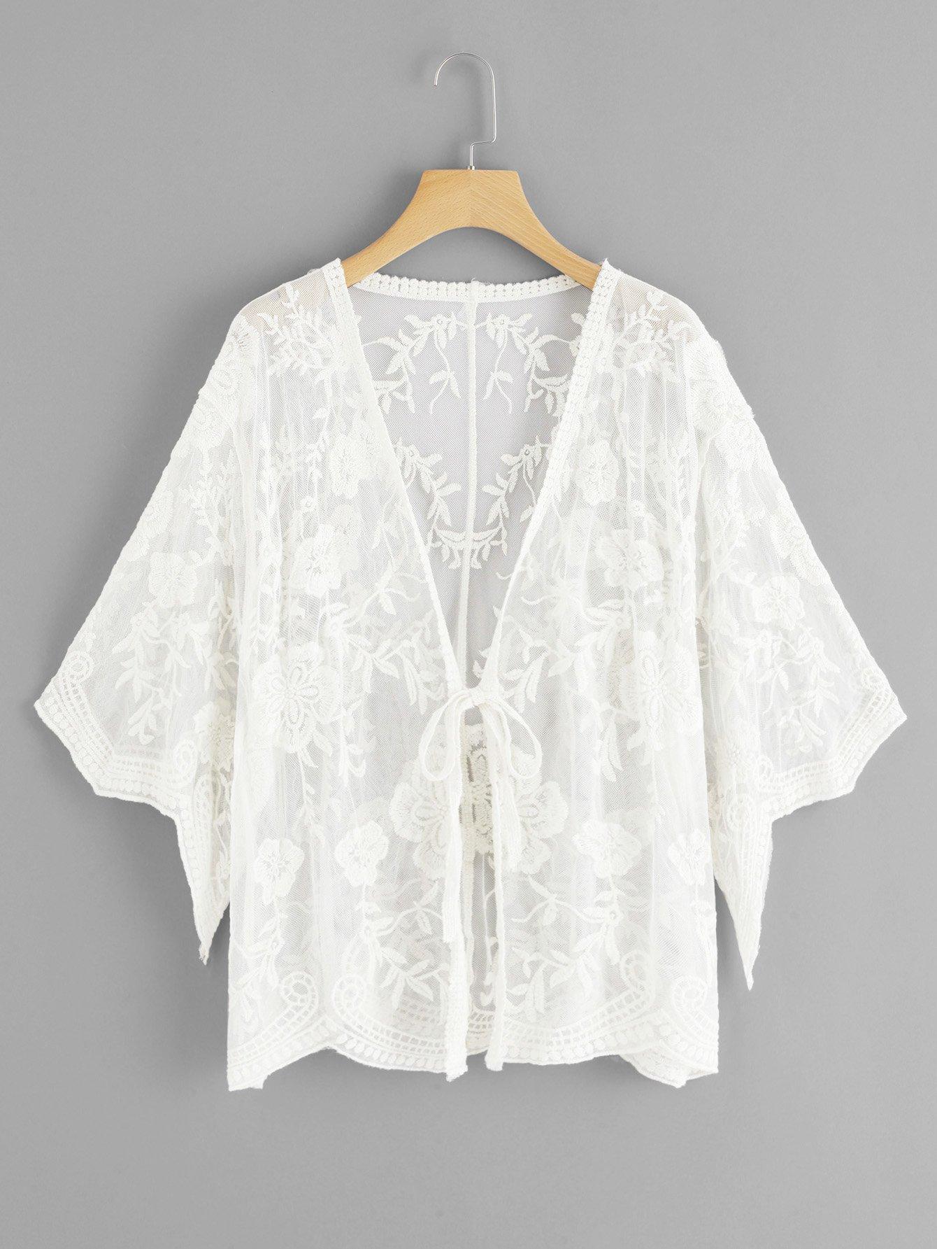 Купить Повседневный Одноцветный с бантом кимоно Абрикосовые Кимоно, null, SheIn