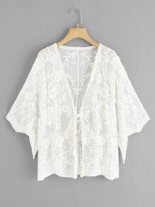 Sheer Mesh Knot Front Kimono